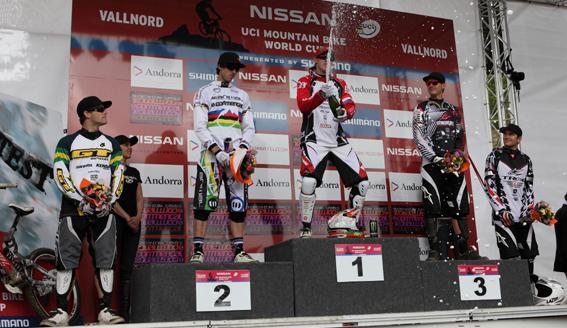 Il podio maschile: da sinistra Hannah, Atherton, Peat, Minnaar e Leov