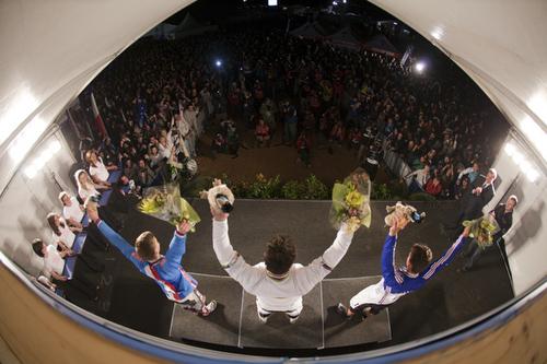 Il podio maschile (foto UCI - Gary Perkin)